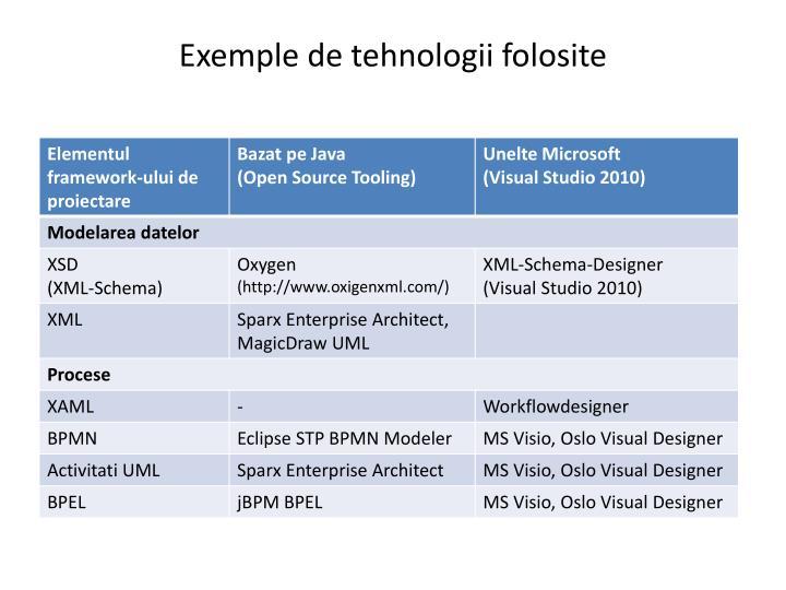 Exemple de tehnologii folosite