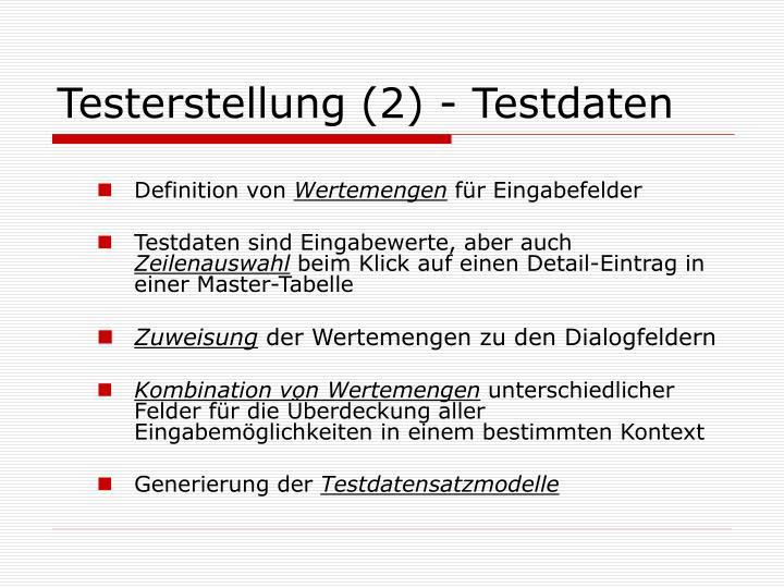 Testerstellung (2) - Testdaten