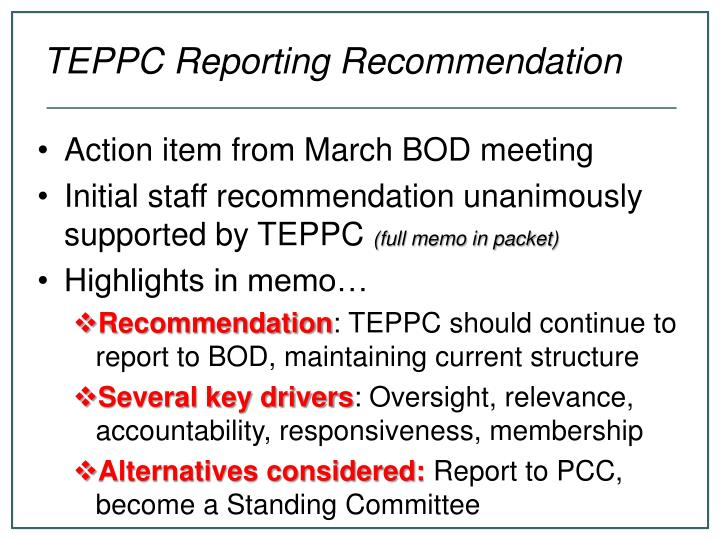 Teppc reporting recommendation