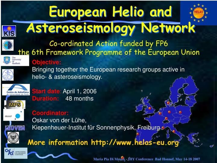 European Helio and Asteroseismology Network