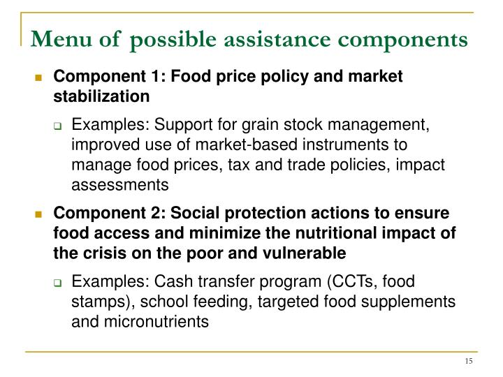Menu of possible assistance components