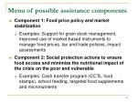 menu of possible assistance components