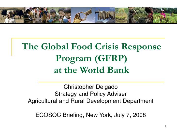 The global food crisis response program gfrp at the world bank