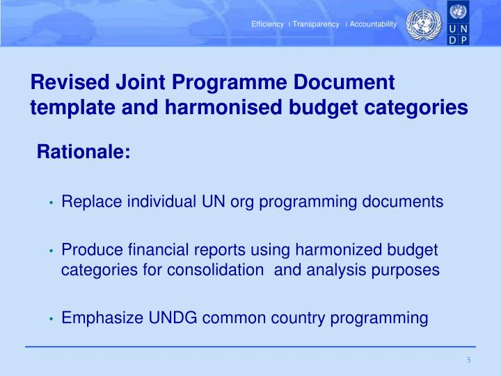 Revised Joint Programme Document template and harmonised budget categories