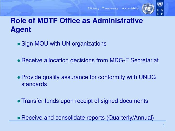 Role of mdtf office as administrative agent