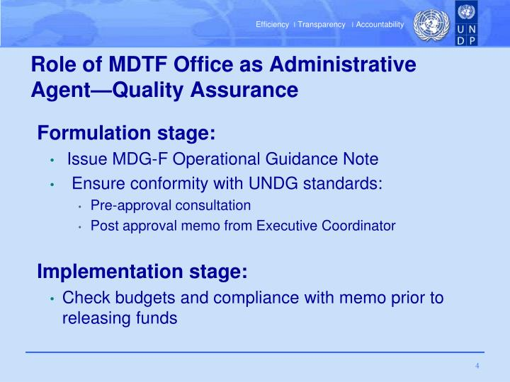 Role of MDTF Office as Administrative Agent—Quality Assurance