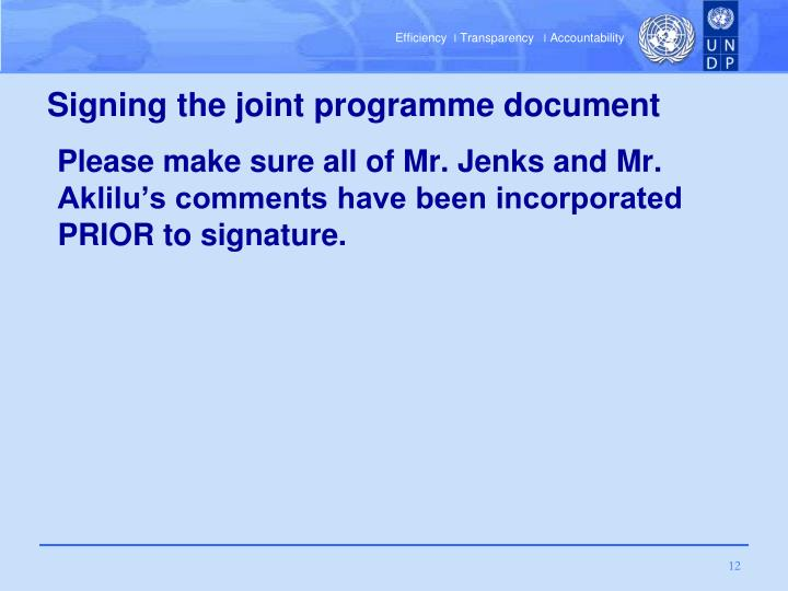 Signing the joint programme document