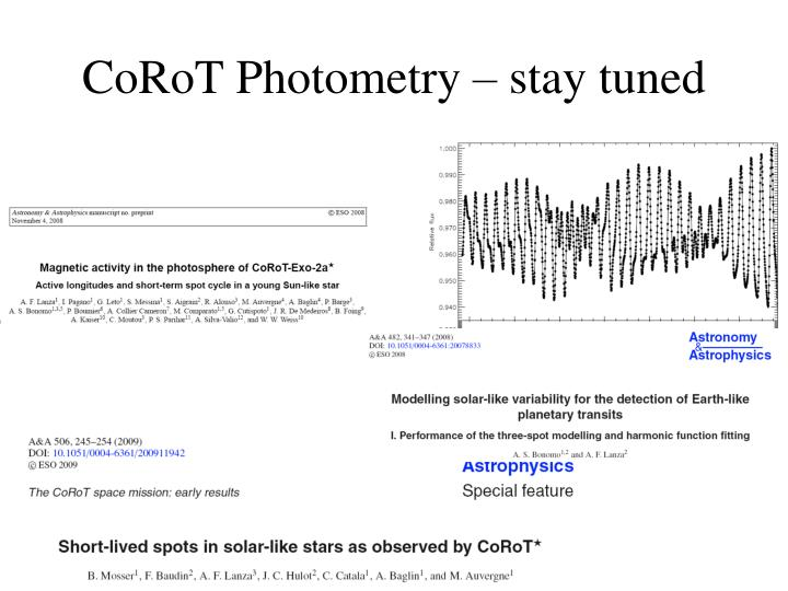 CoRoT Photometry – stay tuned