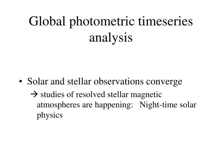 Global photometric timeseries analysis