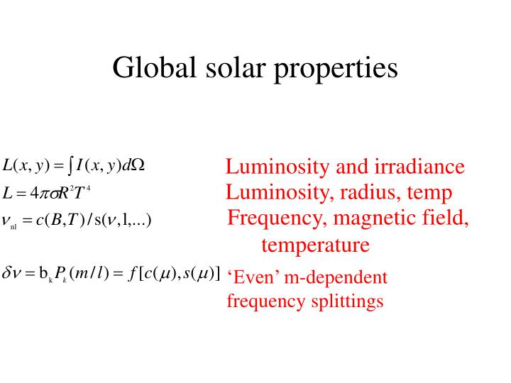 Global solar properties