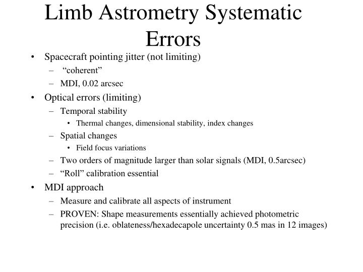 Limb Astrometry Systematic Errors