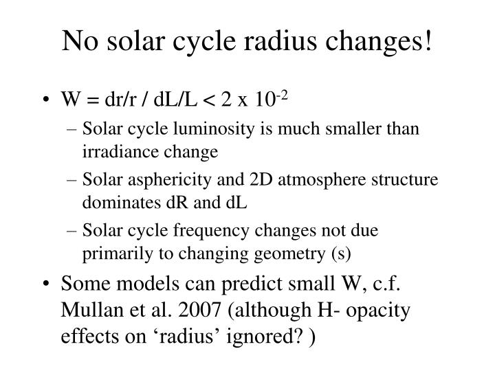No solar cycle radius changes!