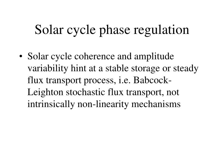 Solar cycle phase regulation