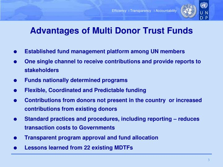 Advantages of multi donor trust funds