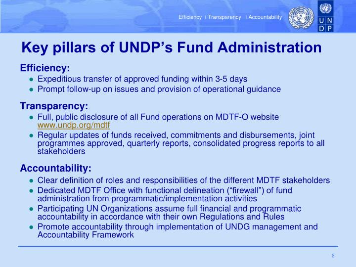 Key pillars of UNDP's Fund Administration