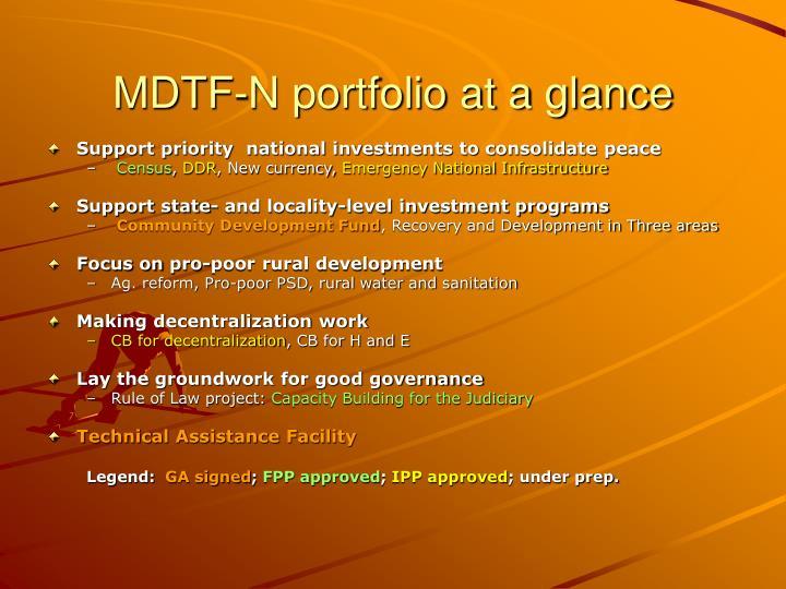 MDTF-N portfolio at a glance