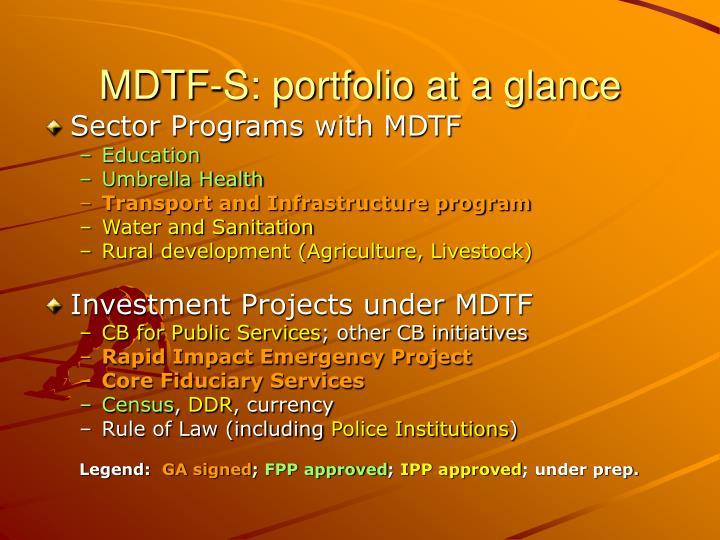 MDTF-S: portfolio at a glance