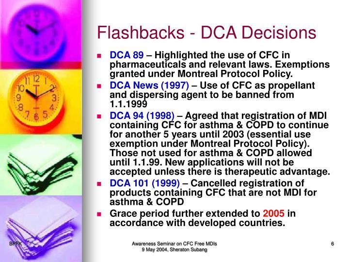 Flashbacks - DCA Decisions