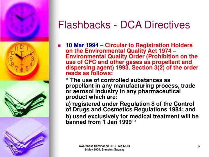 Flashbacks - DCA Directives