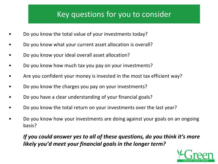 Key questions for you to consider