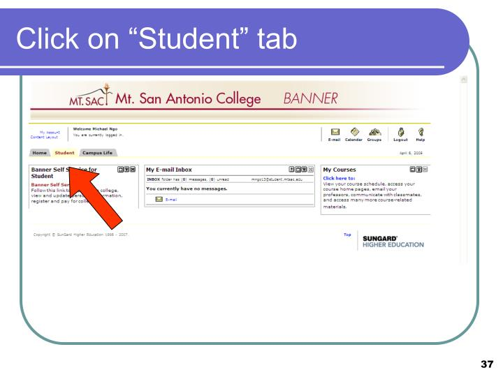 """Click on """"Student"""" tab"""