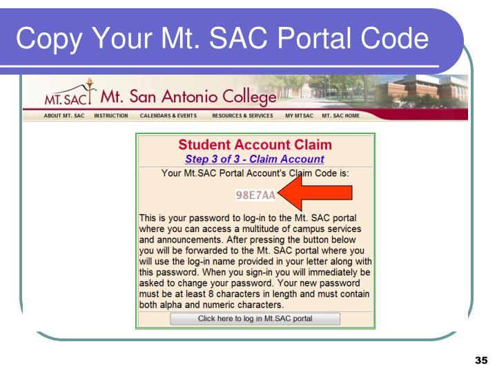 Copy Your Mt. SAC Portal Code