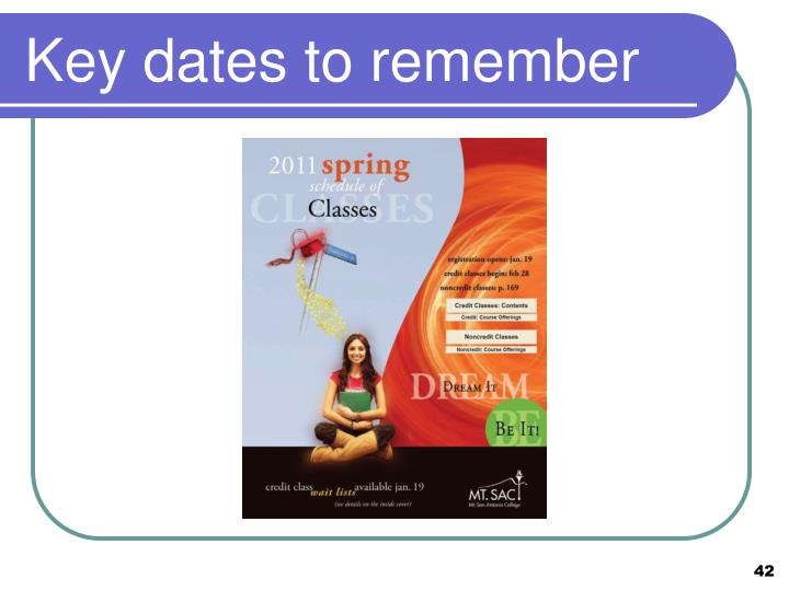 Key dates to remember