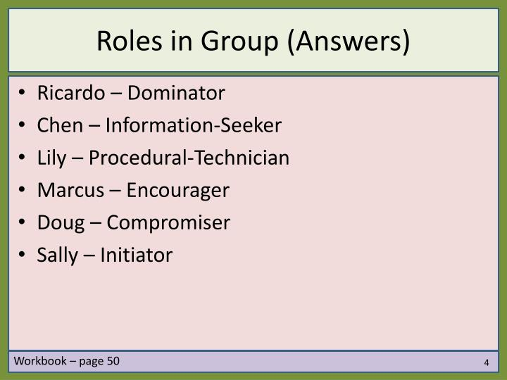 Roles in Group (Answers)