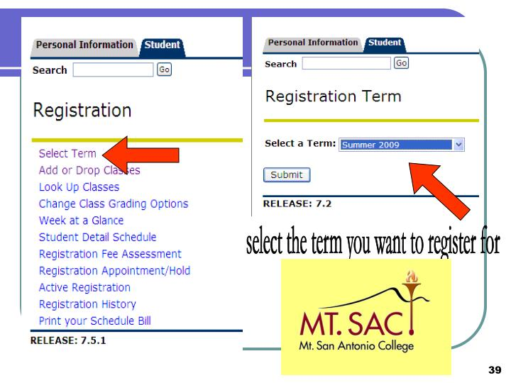 select the term you want to register for