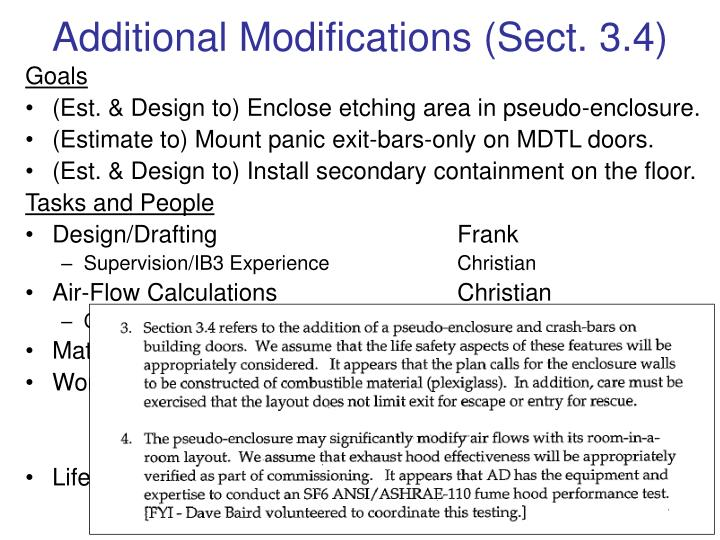 Additional Modifications (Sect. 3.4)