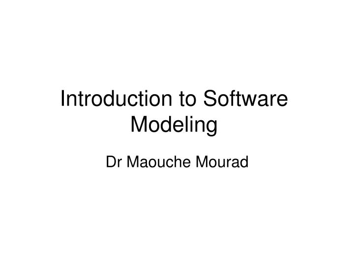 introduction to software modeling