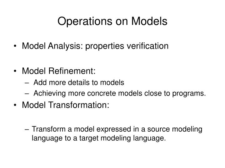 Operations on Models