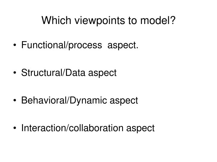 Which viewpoints to model?