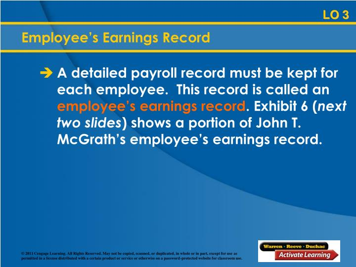 Employee's Earnings Record