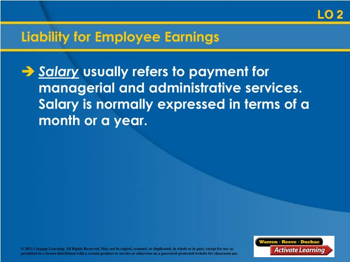 Liability for Employee Earnings