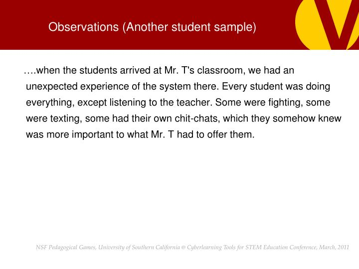 Observations (Another student sample)