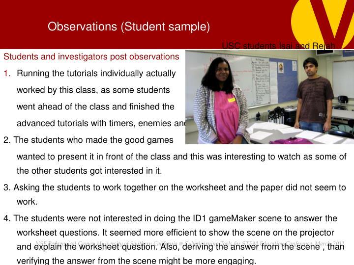 Observations (Student sample)