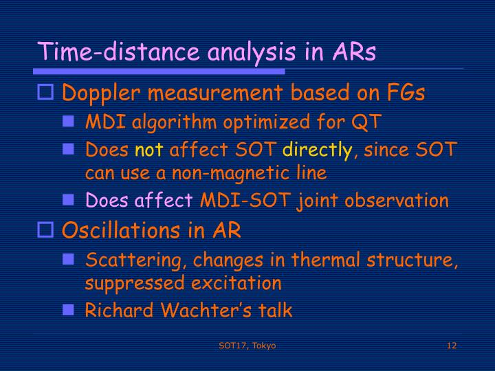 Time-distance analysis in ARs