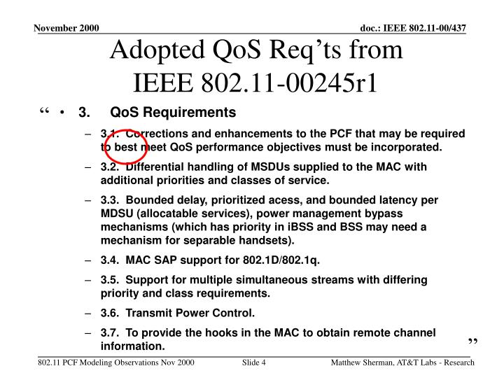 Adopted QoS Req'ts from IEEE 802.11-00245r1