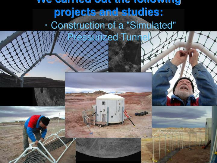 We carried out the following projects and studies: