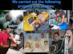 we carried out the following projects and studies human factors psychosocial study