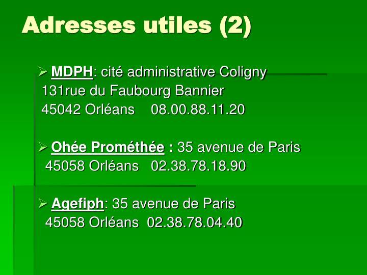 Adresses utiles (2)