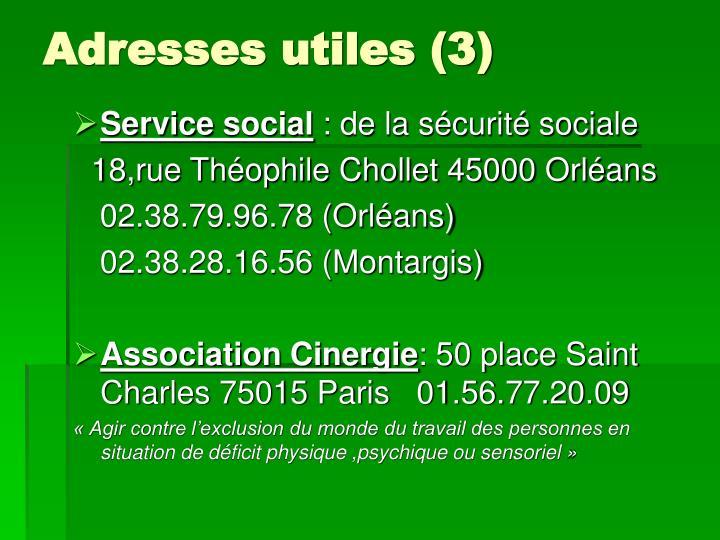 Adresses utiles (3)