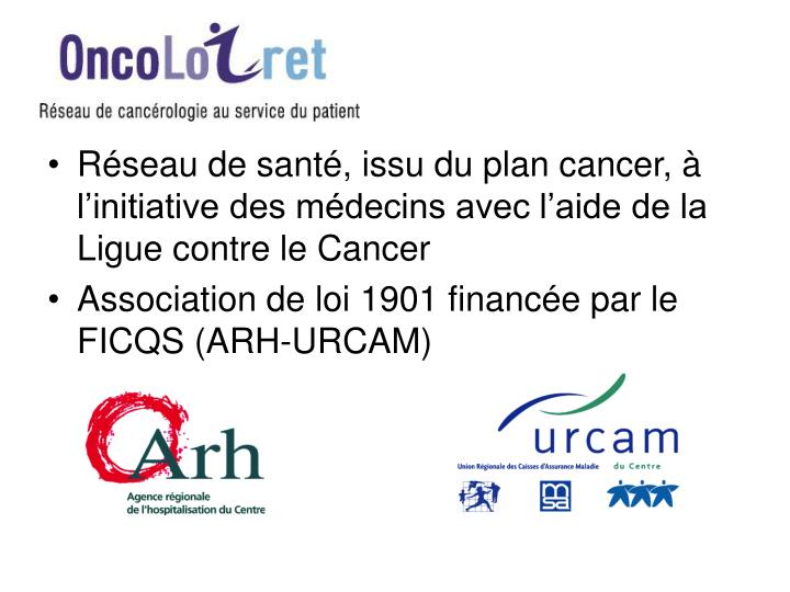 Réseau de santé, issu du plan cancer, à l'initiative des médecins avec l'aide de la Ligue contre le Cancer