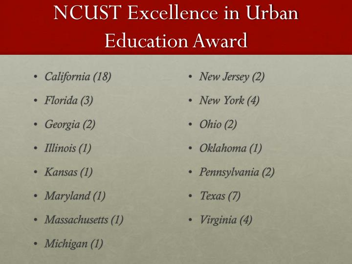 NCUST Excellence in Urban Education Award