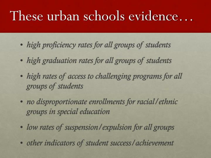 These urban schools evidence