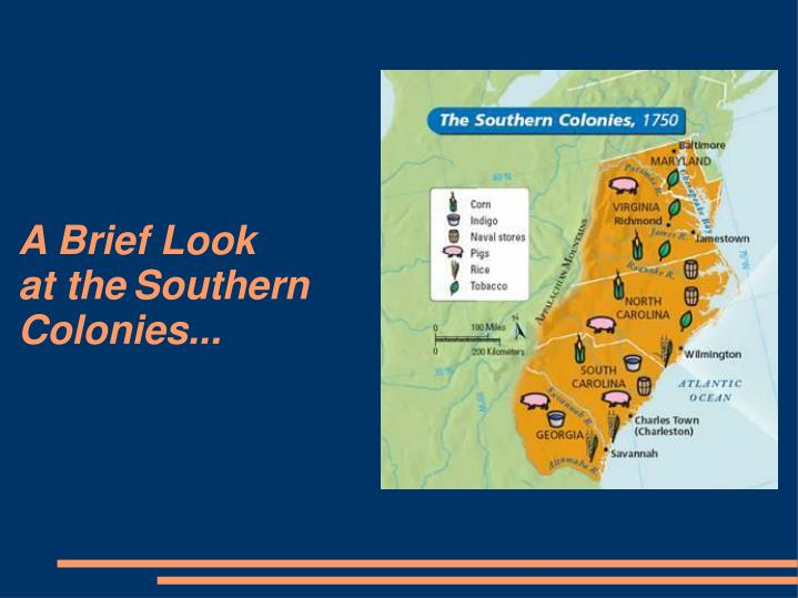 a brief look at the southern colonies