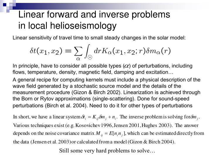 Linear forward and inverse problems