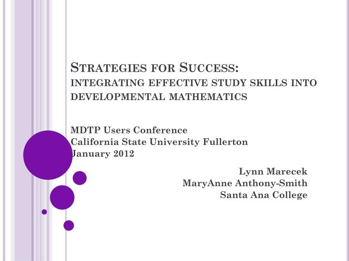 strategies for success integrating effective study skills into developmental mathematics