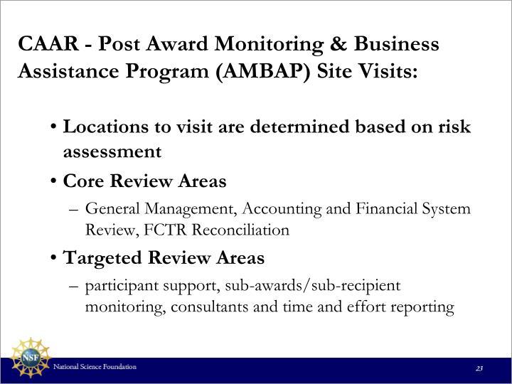 CAAR - Post Award Monitoring & Business Assistance Program (AMBAP) Site Visits: